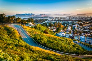 Road and view from Twin Peaks, in San Francisco, California.