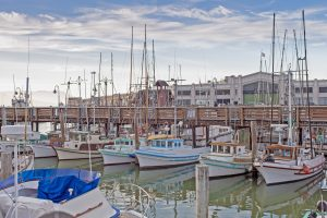 Colorful Sailing Boats at Fishermans Wharf of San-Francisco Bay in California,United States. Horizontal Image Composition